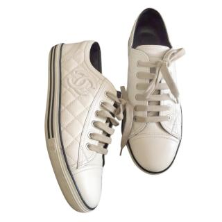 Chanel White Quilted Leather Low-Top Sneakers