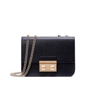 Furla black saffiano gold chain shoulder bag