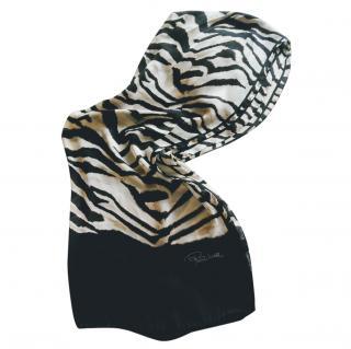 Roberto Cavalli zebra print silk scarf