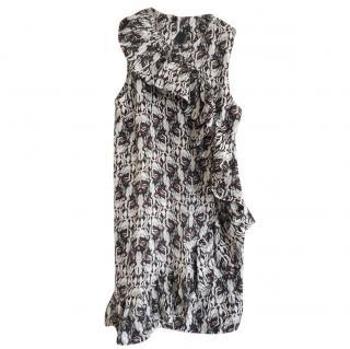 Thomas Wylde black and white sleeveless silk dress