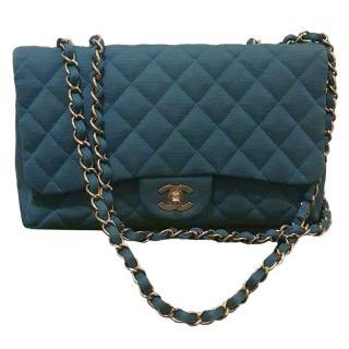 Chanel Blue Jersey Jumbo Flap Bag