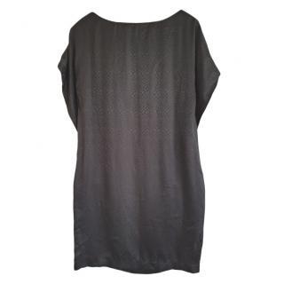 Balenciaga Black Snake Print Silk Shift Dress