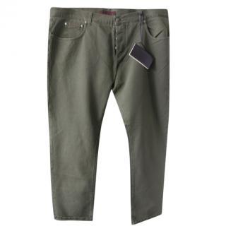 Isaia Napoli Khaki Twill Jeans