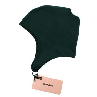Miu Miu beanie cap in Cypress Green Stretch Silk