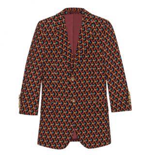 Gucci Men's Tailored Wicker Print Single Breasted Silk Jacket