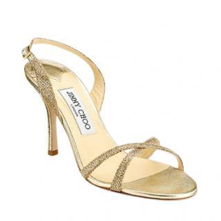Jimmy Choo India 85mm Gold Slingback Sandals