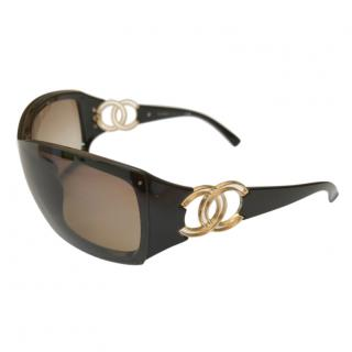 Chanel Large CC  Brown sunglasses