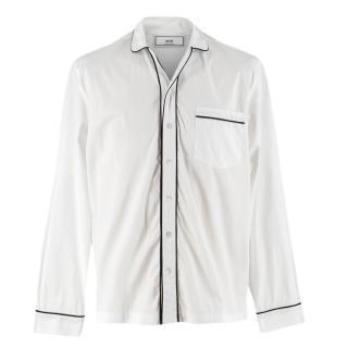 Ami Contrast Trim Cotton Poplin White Shirt