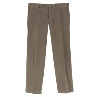 Canali Brown Cotton Straight Leg Trousers