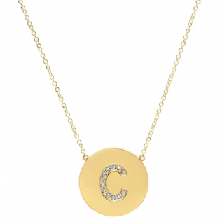 Jennifer Meyer Diamond Letter Disc Necklace - C