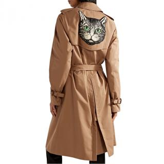 Gucci Tan Cat Embroidered Classic Trench Coat