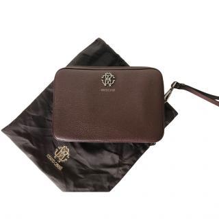 Roberto Cavalli Bordeaux Leather Travel Case