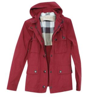 Burberry Brit Red Hooded Rain Jacket