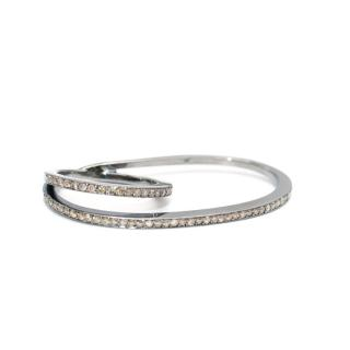 Fiya Bijoux Rhodium Plated Diamond Floating Knuckle Ring