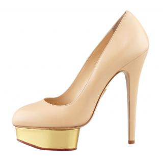 Charlotte Olympia Beige Dolly Pumps