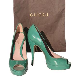 Gucci Green Patent Leather Platform Pumps
