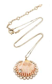 Etro Shell Pendant With Crystals Necklace