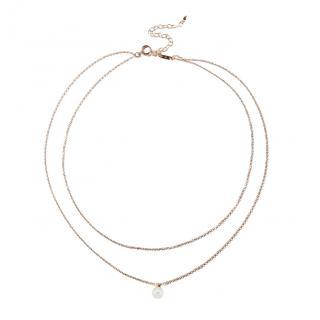 Mizuki Sea of Beauty Collection Double Chain White Pearl and Diamond