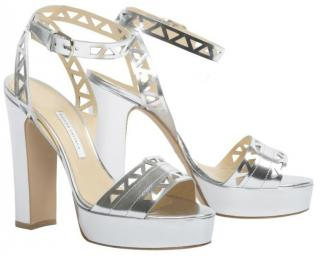 Bionda Castana cut-out silver mirror sandals