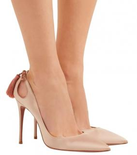 AQUAZZURA Forever Marilyn 105 Beige Satin Pumps