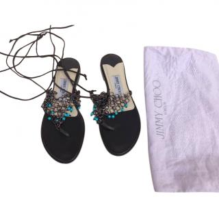 Jimmy Choo beaded mesh lace-up sandals