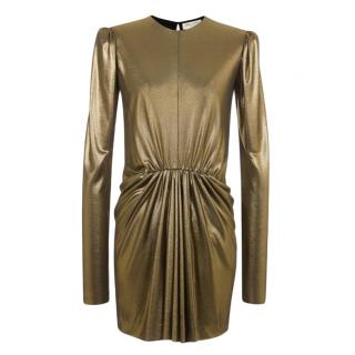 Saint Laurent Gold Gathered Mini Dress