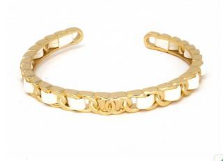 Chanel Gold Tone CC White Leather Open Chain Bracelet