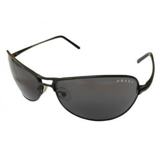 Prada black metal aviator frame sunglasses