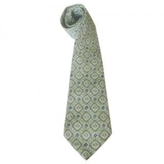 Hermes light green floral silk tie
