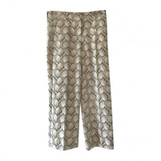 MaxMara grey printed wide leg pants