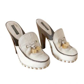Louis Vuitton cream leather wooden sole mules