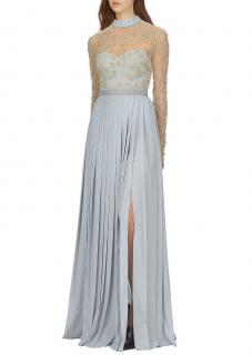 Self Portrait Floral-embroidered mesh maxi dress