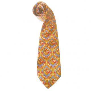 Azzaro Feather & Bird Print Silk Tie