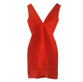 Herve Leger Lipstick Red Bandage Mini Dress