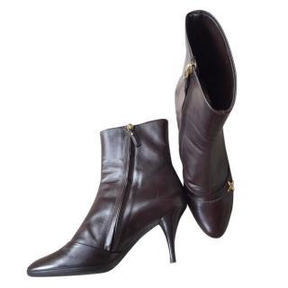 Louis Vuitton Dark Brown Round Toe Ankle Boots