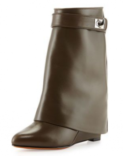 Givenchy Khaki Leather Shark Lock Ankle Boots