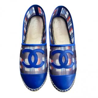 Chanel Blue Mesh & Leather CC Espadrilles
