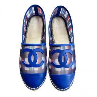 Chanel Blue Mesh & Leather CC Espadrilles