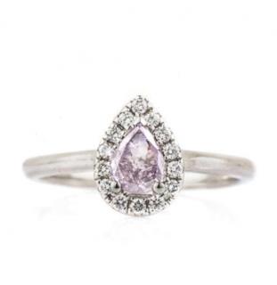 Bespoke White Gold Pink Pear Cut Diamond Ring