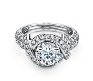 Tiffany & Co. Platinum Engagement Ring with a Diamond Band
