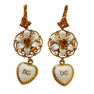 Dolce & Gabbana Floral Heart Drop Earrings
