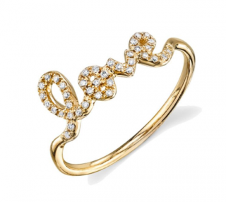 Sydney Evan Gold & Pav� Diamond Love Ring