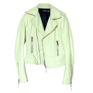 Balenciaga Yellow  Leather Biker Jacket