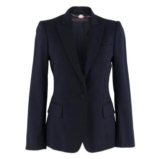 Stella McCartney Single-Breasted Wool Navy Blazer Jacket