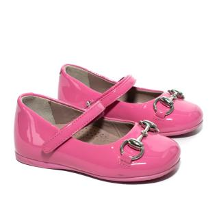 Gucci Childrens Raspberry Pink Patent Leather Pumps