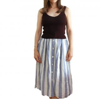 Max Mara Blue & White Striped Button Front Skirt