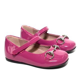 Gucci Childrens Fuchsia Patent Leather Pumps
