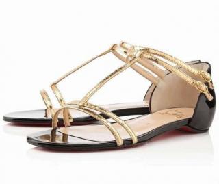 Christian Louboutin Black & Gold Arnold Flat Patent/Ayers Sandals
