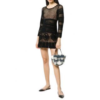 Self Portrait Black Crochet Knit Mini Dress