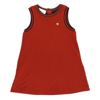 Gucci Kid's Red Heart Embroidered Web Trim Dress